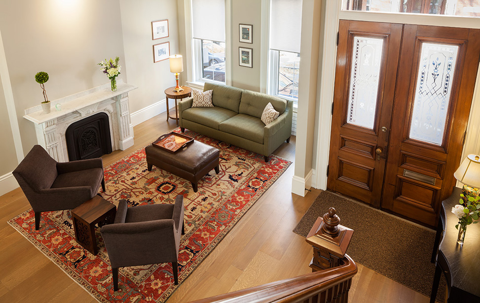 MF Reynolds Charlestown townhouse open layout after renovation